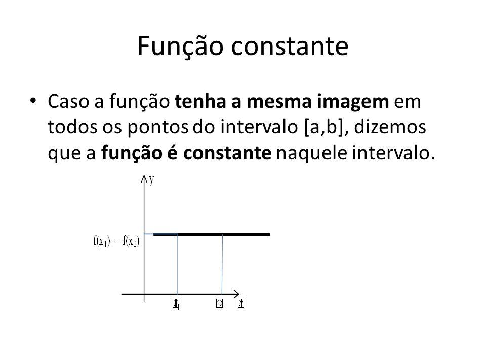 Função constante • Caso a função tenha a mesma imagem em todos os pontos do intervalo [a,b], dizemos que a função é constante naquele intervalo.