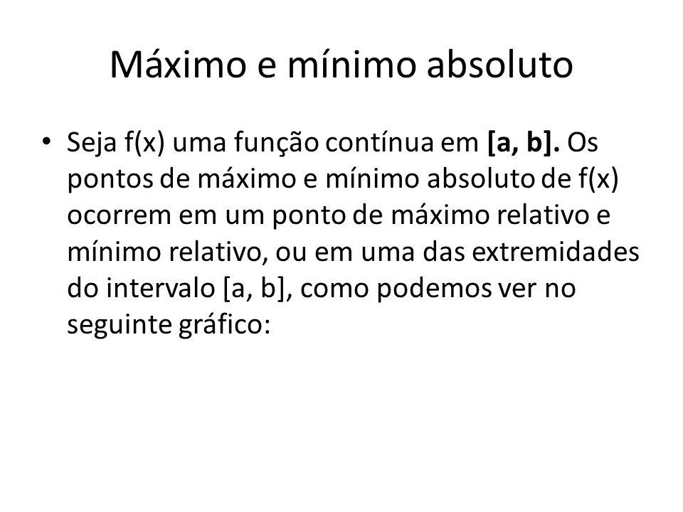 Máximo e mínimo absoluto • Seja f(x) uma função contínua em [a, b].