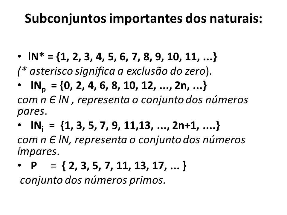 Subconjuntos importantes dos naturais: • lN* = {1, 2, 3, 4, 5, 6, 7, 8, 9, 10, 11,...} (* asterisco significa a exclusão do zero).
