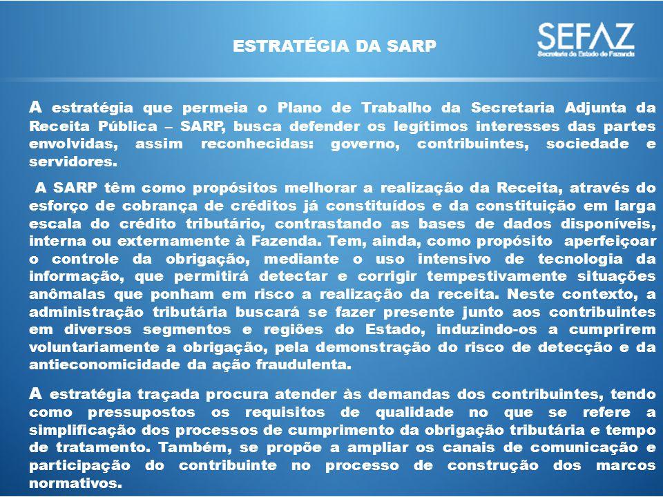 A estratégia que permeia o Plano de Trabalho da Secretaria Adjunta da Receita Pública – SARP, busca defender os legítimos interesses das partes envolvidas, assim reconhecidas: governo, contribuintes, sociedade e servidores.