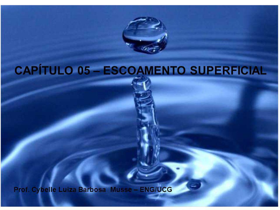 CAPÍTULO 05 – ESCOAMENTO SUPERFICIAL Prof. Cybelle Luiza Barbosa Musse – ENG/UCG