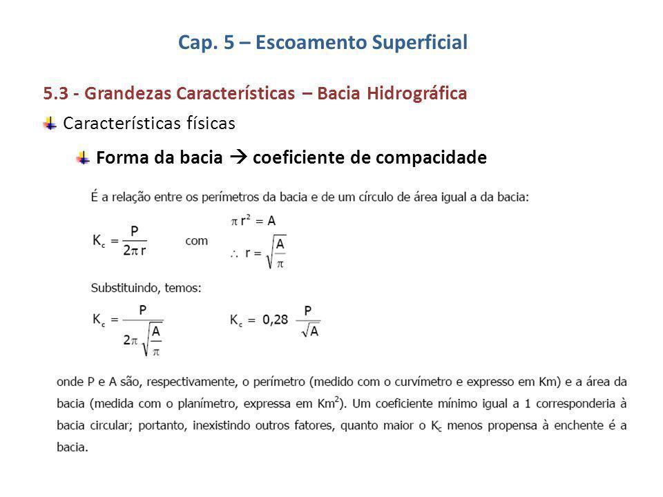 Cap. 5 – Escoamento Superficial 5.3 - Grandezas Características – Bacia Hidrográfica Características físicas Forma da bacia  coeficiente de compacida