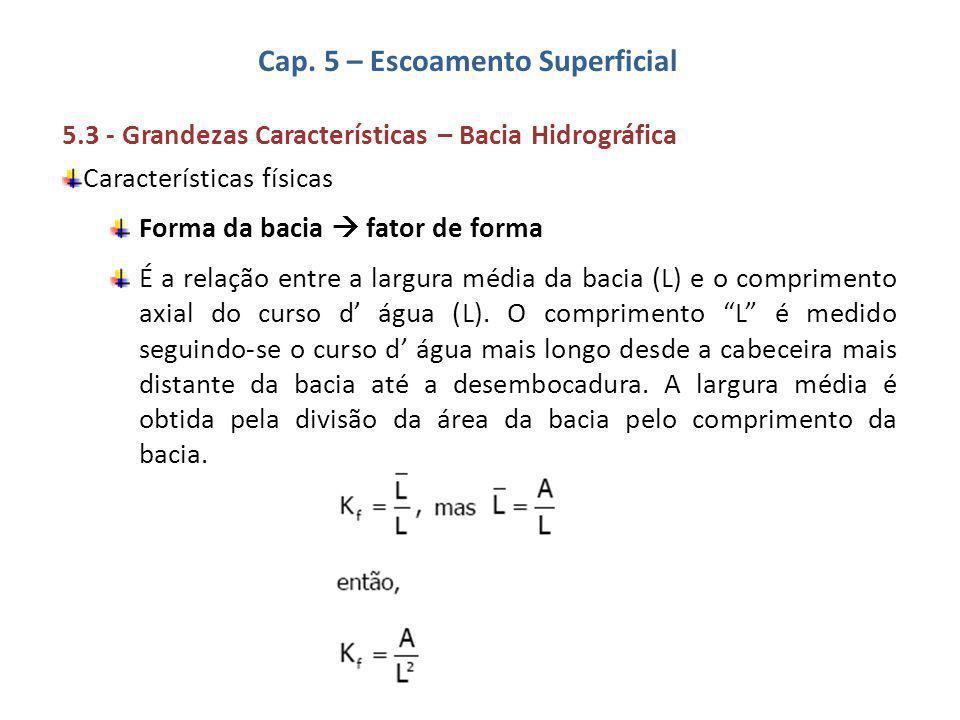 Cap. 5 – Escoamento Superficial 5.3 - Grandezas Características – Bacia Hidrográfica Características físicas Forma da bacia  fator de forma É a relaç