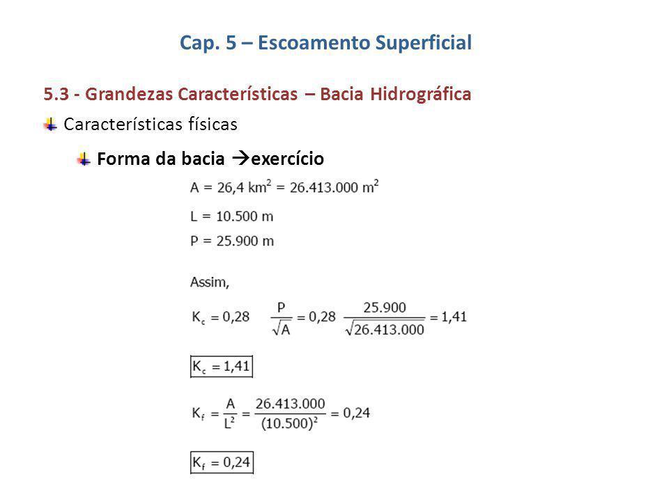 Cap. 5 – Escoamento Superficial 5.3 - Grandezas Características – Bacia Hidrográfica Características físicas Forma da bacia  exercício