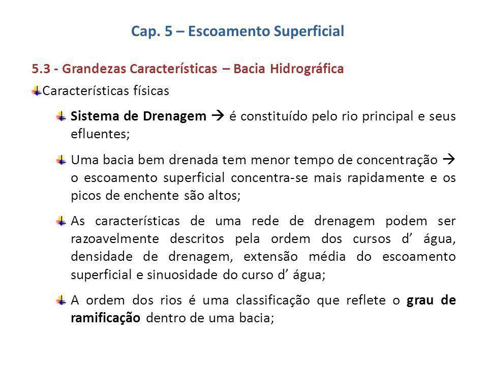 Cap. 5 – Escoamento Superficial 5.3 - Grandezas Características – Bacia Hidrográfica Características físicas Sistema de Drenagem  é constituído pelo