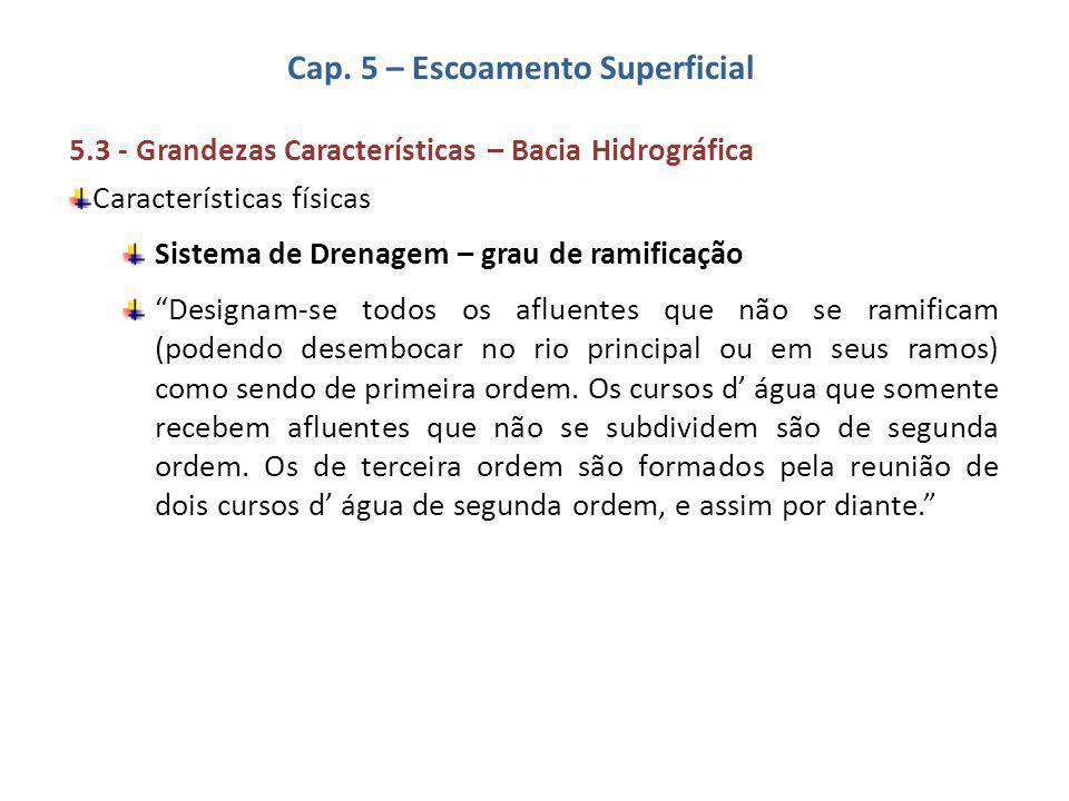 Cap. 5 – Escoamento Superficial 5.3 - Grandezas Características – Bacia Hidrográfica Características físicas Sistema de Drenagem – grau de ramificação