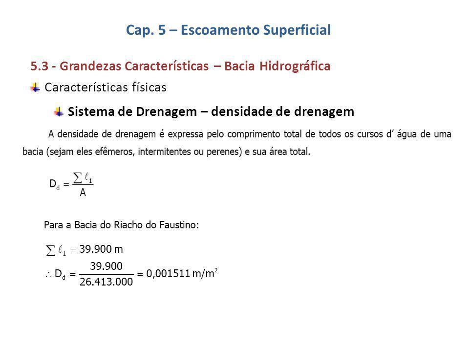 Cap. 5 – Escoamento Superficial 5.3 - Grandezas Características – Bacia Hidrográfica Características físicas Sistema de Drenagem – densidade de drenag