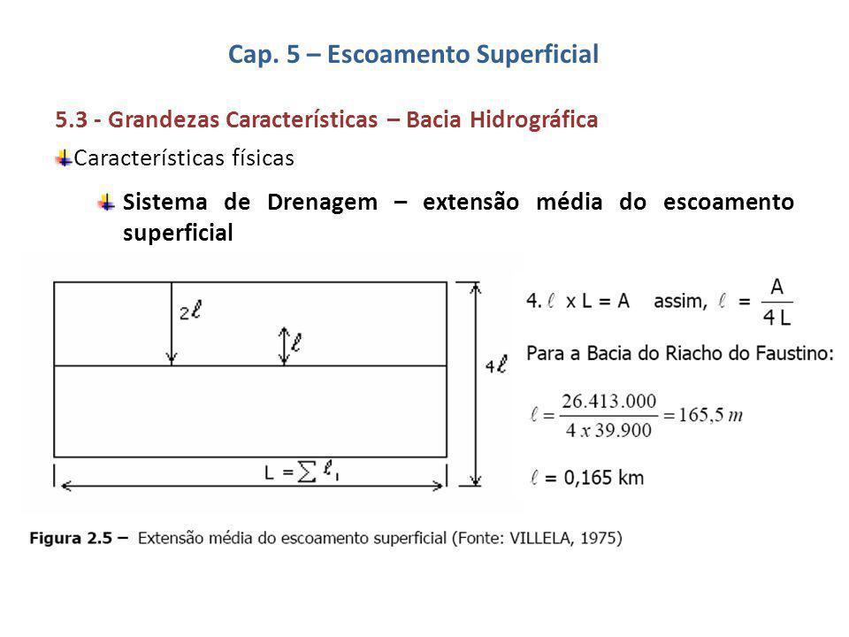 5.3 - Grandezas Características – Bacia Hidrográfica Características físicas Sistema de Drenagem – extensão média do escoamento superficial Cap. 5 – E