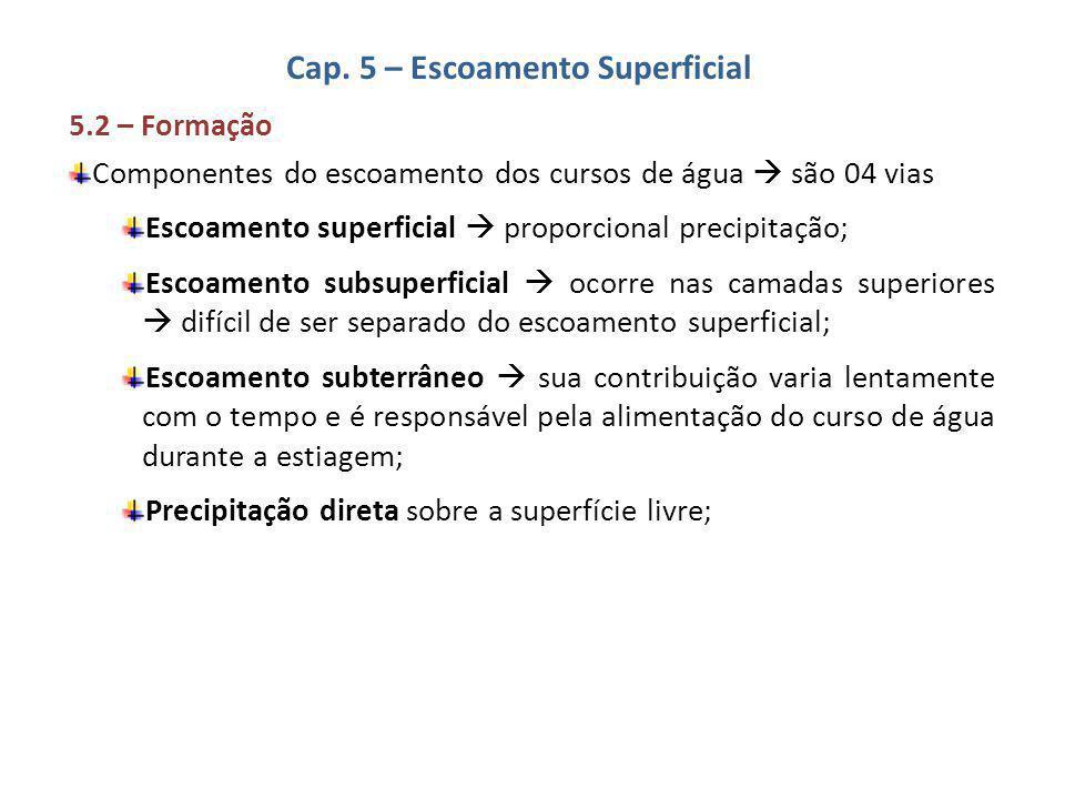 Cap. 5 – Escoamento Superficial 5.2 – Formação Componentes do escoamento dos cursos de água  são 04 vias Escoamento superficial  proporcional precip
