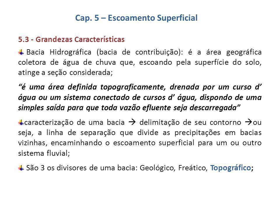 Cap. 5 – Escoamento Superficial 5.3 - Grandezas Características Bacia Hidrográfica (bacia de contribuição): é a área geográfica coletora de água de ch