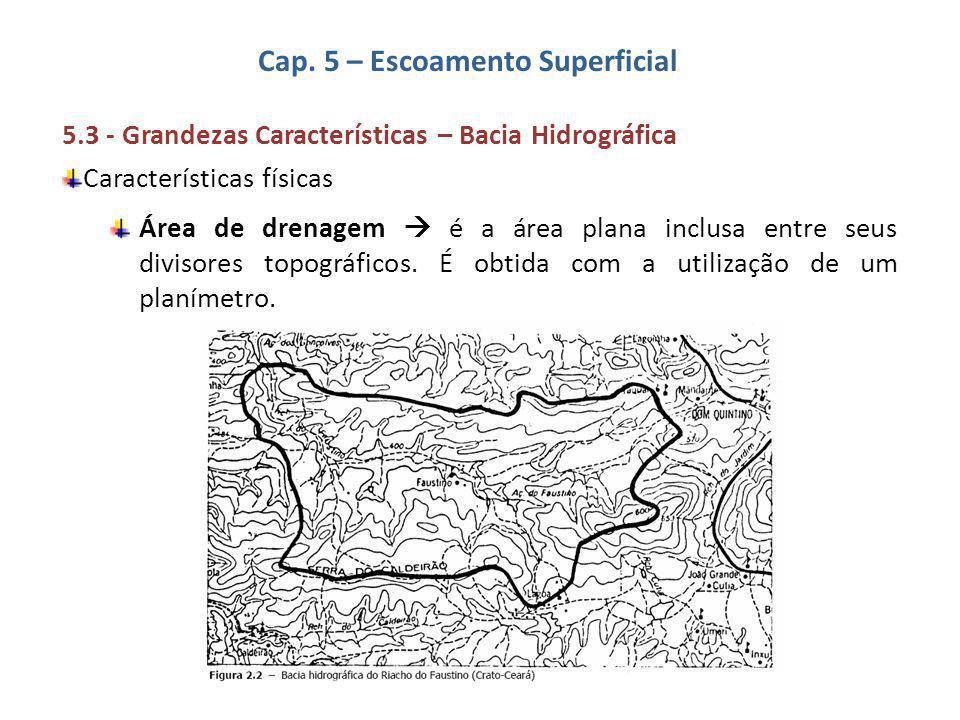 Cap. 5 – Escoamento Superficial 5.3 - Grandezas Características – Bacia Hidrográfica Características físicas Área de drenagem  é a área plana inclusa