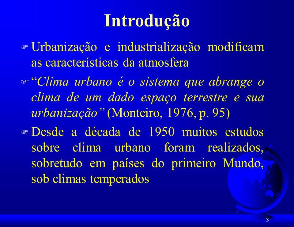 4 Introdução F Poucos estudos sobre alterações climáticas causadas pela urbanização em cidades tropicais e seus efeitos à saúde (Dunne, 1984; Oke, 1981; Weihe, 1986; Akbari, 1990; Jauregui, 1994).