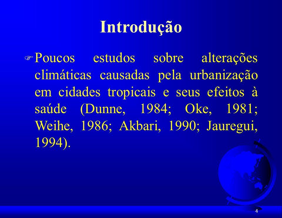 5 Introdução Condições atmosféricas influenciam a saúde através de 3 fatores : 1.