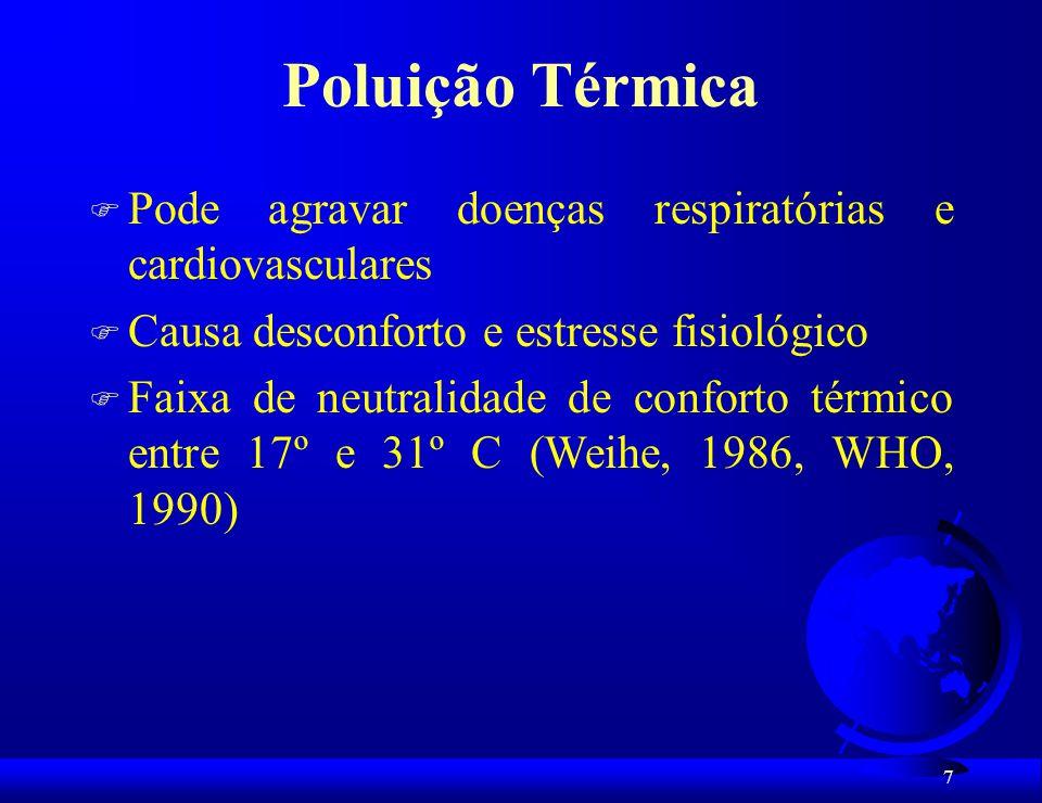 8 Poluição térmica: Sintomas de desconforto e de riscos à saúde com temperaturas acima desta faixa: F -hipotensão F -hipertermia F -taquicardia F -insuficiência cardíaca F -inapetência F -desidratação F -letargia F -indolência F -irritabilidade F -diminuição da capacidade de aprendizagem F -memória prejudicada F -depressão F -alteração no padrão de doenças transmitidas por vetores