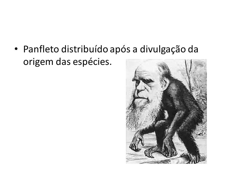 • Panfleto distribuído após a divulgação da origem das espécies.