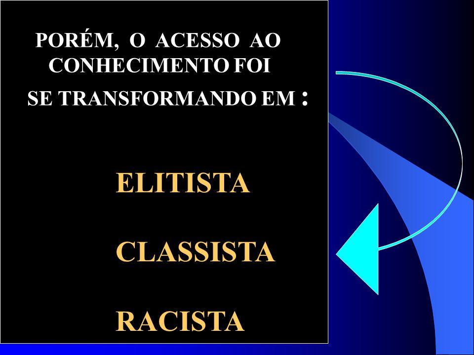 PORÉM, O ACESSO AO CONHECIMENTO FOI SE TRANSFORMANDO EM : ELITISTA CLASSISTA RACISTA