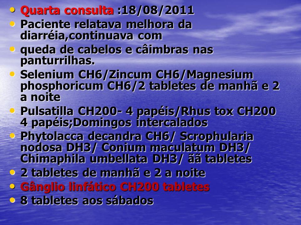 • Quarta consulta :18/08/2011 • Paciente relatava melhora da diarréia,continuava com • queda de cabelos e câimbras nas panturrilhas. • Selenium CH6/Zi