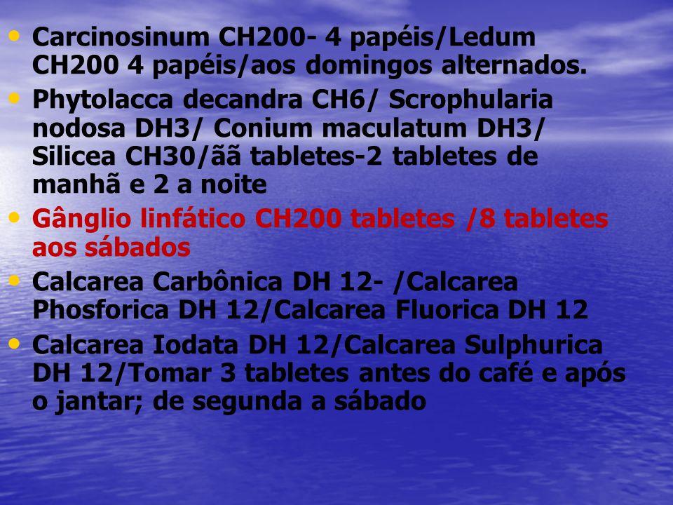 • • Carcinosinum CH200- 4 papéis/Ledum CH200 4 papéis/aos domingos alternados. • • Phytolacca decandra CH6/ Scrophularia nodosa DH3/ Conium maculatum