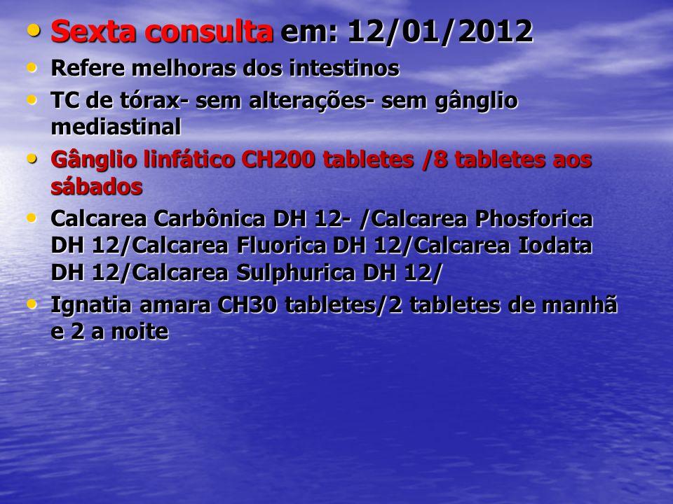 • Sexta consulta em: 12/01/2012 • Refere melhoras dos intestinos • TC de tórax- sem alterações- sem gânglio mediastinal • Gânglio linfático CH200 tabl