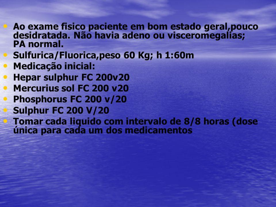 Exames feitos 1 ano após a primeira consulta: Data 25/11/12 01/06/12 4/09/12 02/13 Hemogramas normais fibrinogenio 283 281(350) Ptnuria N uréia 23 creat 0,65 Eletroforesem de hb traço AF- S- 36,6% LDH-278 IgA-154 166 IgG-938 IgM-69,7 80 H Pylori N Gliadina IgA 0,8(N) IgG não foi detectada gamopatia monoclonal- IDEM IDEM-IDEM PCR- 0,20 0,17 beta 2- -normal Imunofenotipagem leucocitaria- a analise não evidenciou neoplasia hematológica.