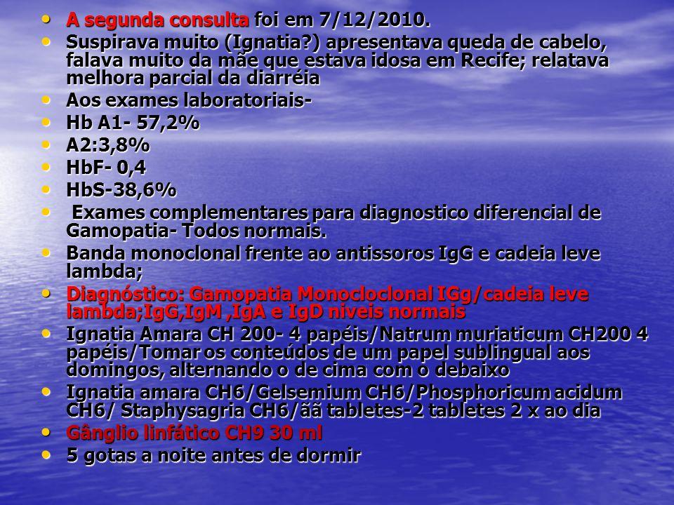 • A segunda consulta foi em 7/12/2010. • Suspirava muito (Ignatia?) apresentava queda de cabelo, falava muito da mãe que estava idosa em Recife; relat