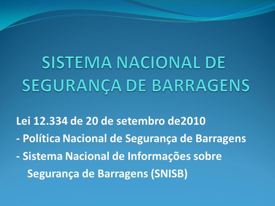 Lei 12.334 de 20 de setembro de2010 - Política Nacional de Segurança de Barragens - Sistema Nacional de Informações sobre Segurança de Barragens (SNISB)