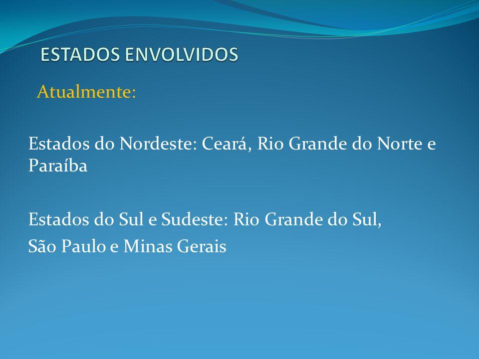 Estados do Nordeste: Ceará, Rio Grande do Norte e Paraíba Estados do Sul e Sudeste: Rio Grande do Sul, São Paulo e Minas Gerais Atualmente: