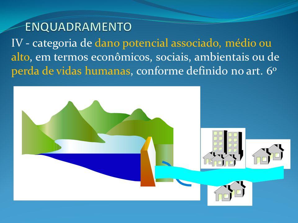 IV - categoria de dano potencial associado, médio ou alto, em termos econômicos, sociais, ambientais ou de perda de vidas humanas, conforme definido no art.