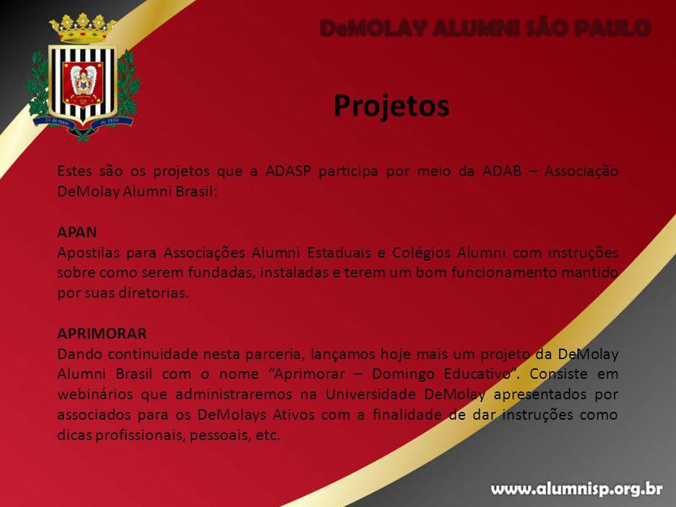 Projetos Estes são os projetos que a ADASP participa por meio da ADAB – Associação DeMolay Alumni Brasil: APAN Apostilas para Associações Alumni Estad