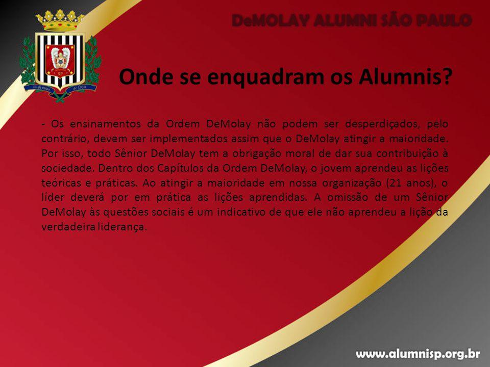 Onde se enquadram os Alumnis? - Os ensinamentos da Ordem DeMolay não podem ser desperdiçados, pelo contrário, devem ser implementados assim que o DeMo