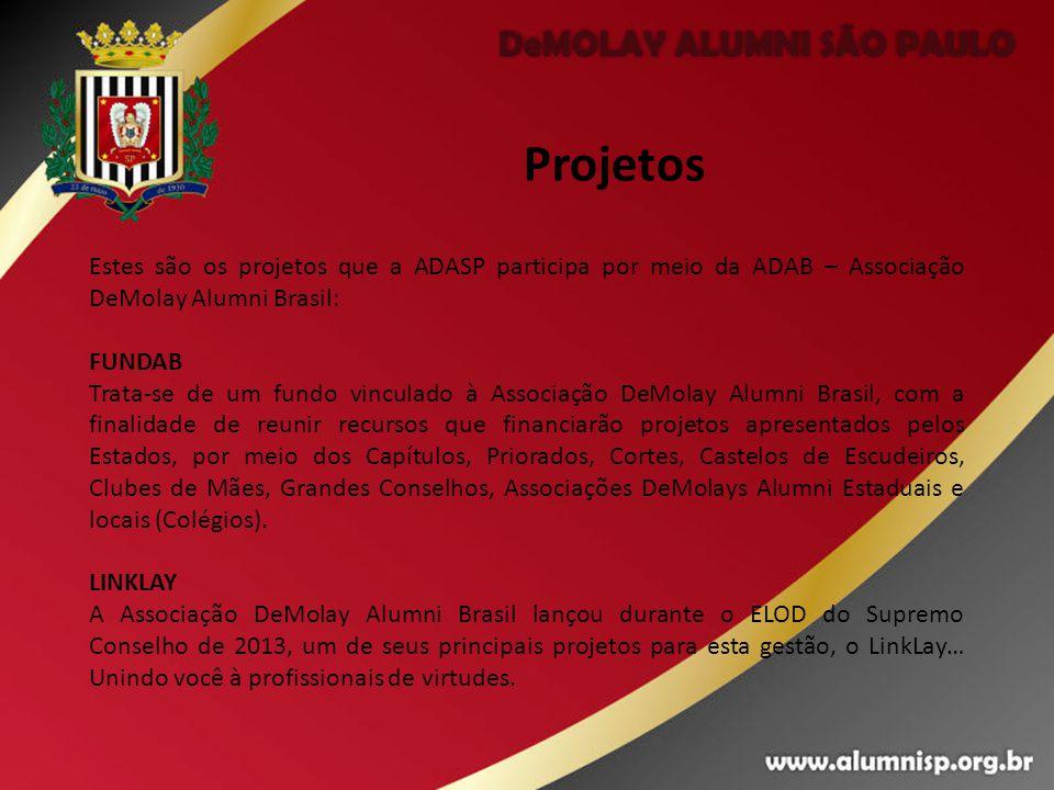 Projetos Estes são os projetos que a ADASP participa por meio da ADAB – Associação DeMolay Alumni Brasil: FUNDAB Trata-se de um fundo vinculado à Asso