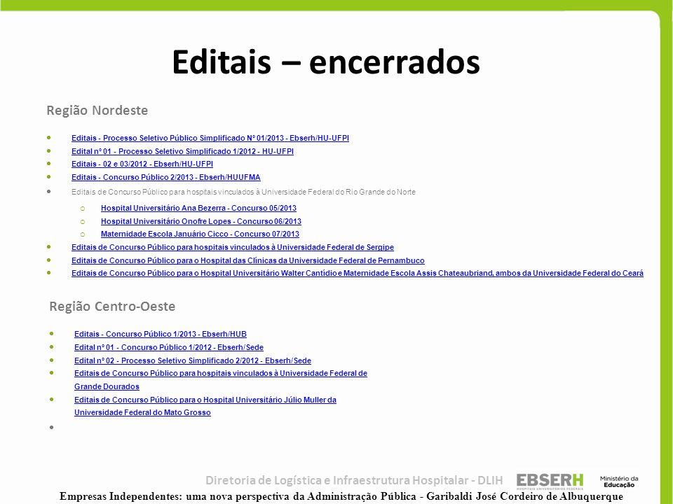Diretoria de Logística e Infraestrutura Hospitalar - DLIH Região Nordeste  Editais - Processo Seletivo Público Simplificado Nº 01/2013 - Ebserh/HU-UF