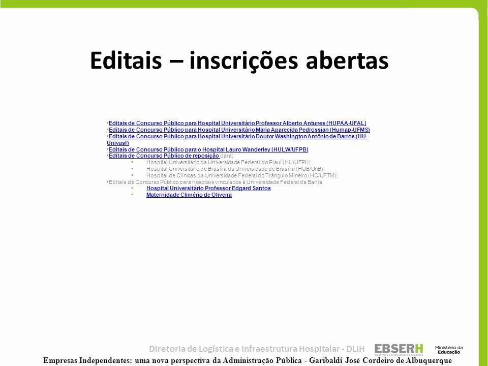 Diretoria de Logística e Infraestrutura Hospitalar - DLIH •Editais de Concurso Público para Hospital Universitário Professor Alberto Antunes (HUPAA-UF