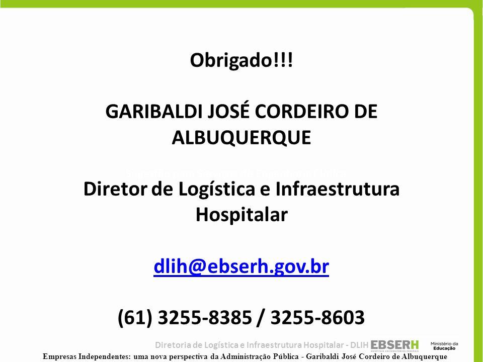 Diretoria de Logística e Infraestrutura Hospitalar - DLIH Sugestão para Serviços de Engenharia Clínica CGTH / DLIH Obrigado!!! GARIBALDI JOSÉ CORDEIRO