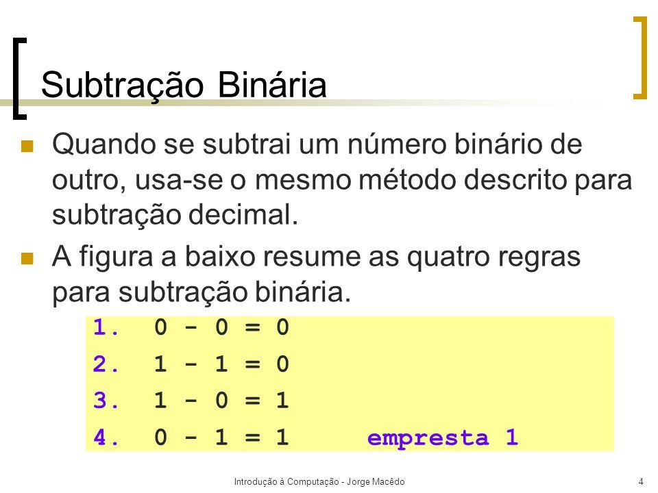 Introdução à Computação - Jorge Macêdo5 Subtração Binária 16 = 2 4 8 = 2 3 4 = 2 2 2 = 2 1 1 = 2 0 Diferença Empréstimo Subtraendo Minuendo 0111 1011- 11011 10 0