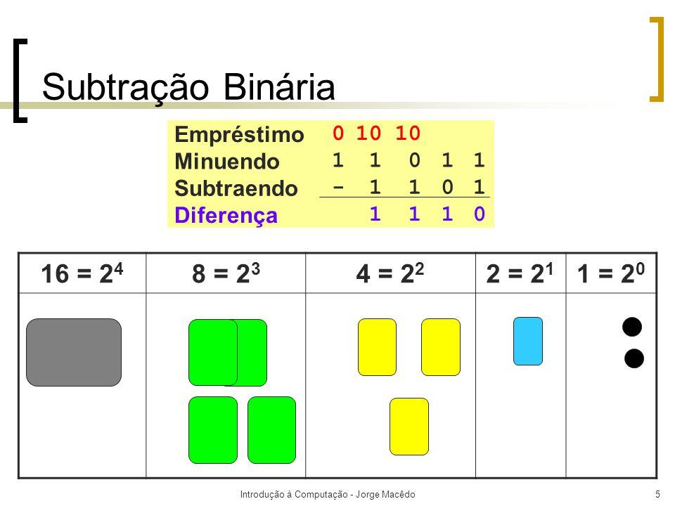 Introdução à Computação - Jorge Macêdo6 Subtração Binária  Na primeira coluna, 1 de 1 resulta 0 (regra 2).