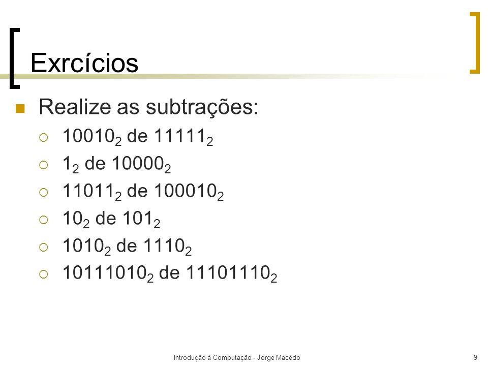 Introdução à Computação - Jorge Macêdo10 Números Negativos  Até agora, nós temos examinado aritmética binária usando números sem sinal.