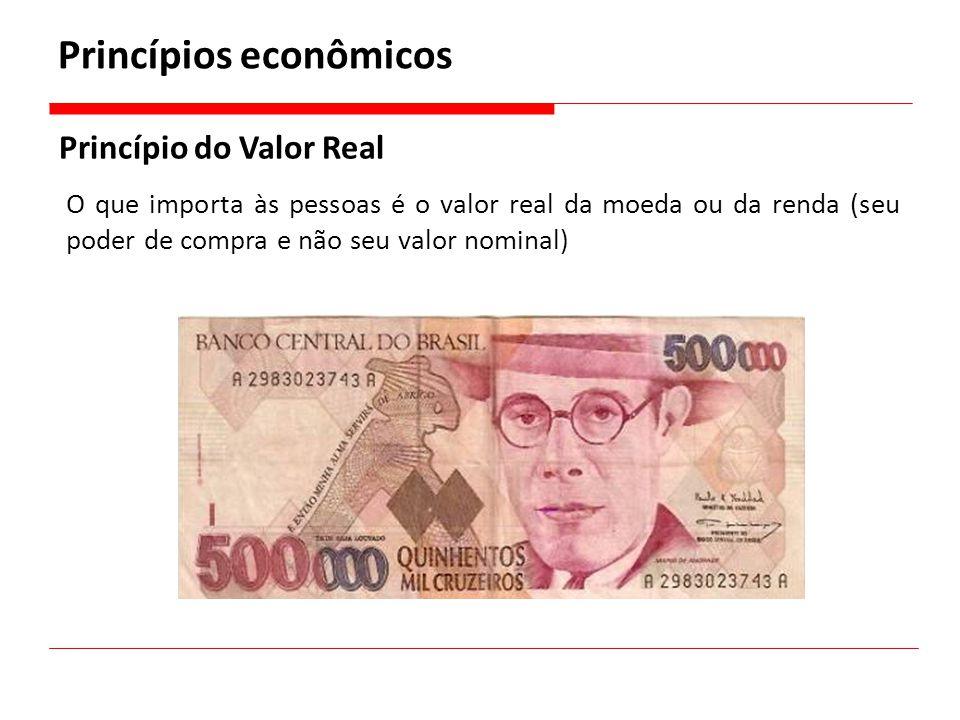 Princípios econômicos Princípio do Valor Real O que importa às pessoas é o valor real da moeda ou da renda (seu poder de compra e não seu valor nomina