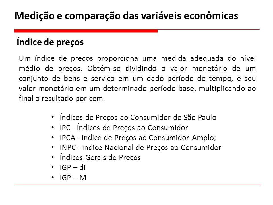 Medição e comparação das variáveis econômicas Índice de preços Um índice de preços proporciona uma medida adequada do nível médio de preços. Obtém-se
