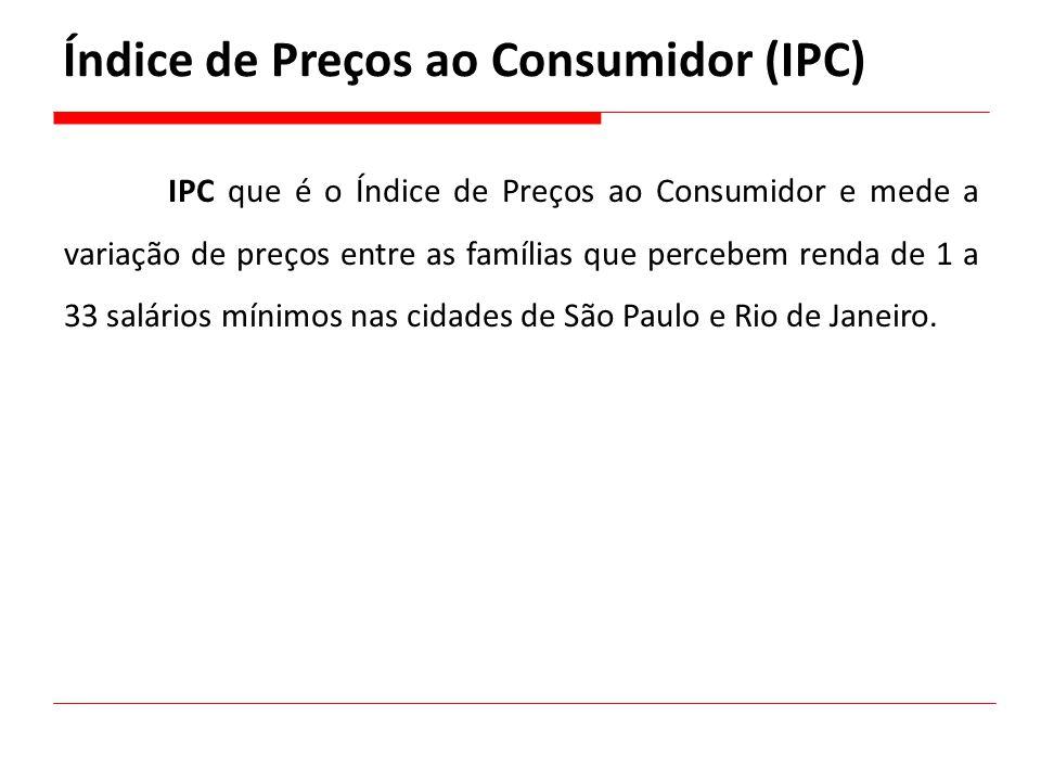 IPC que é o Índice de Preços ao Consumidor e mede a variação de preços entre as famílias que percebem renda de 1 a 33 salários mínimos nas cidades de