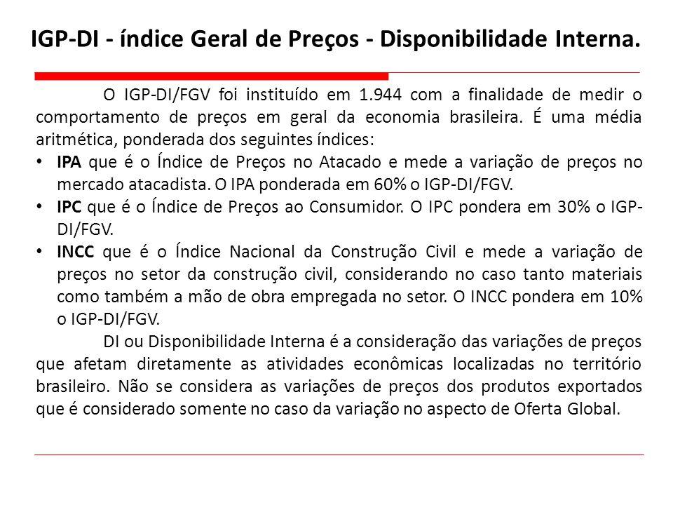 IGP-DI - índice Geral de Preços - Disponibilidade Interna. O IGP-DI/FGV foi instituído em 1.944 com a finalidade de medir o comportamento de preços em