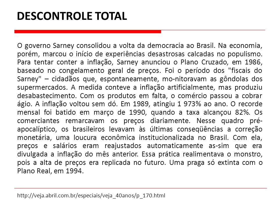O governo Sarney consolidou a volta da democracia ao Brasil. Na economia, porém, marcou o início de experiências desastrosas calcadas no populismo. Pa