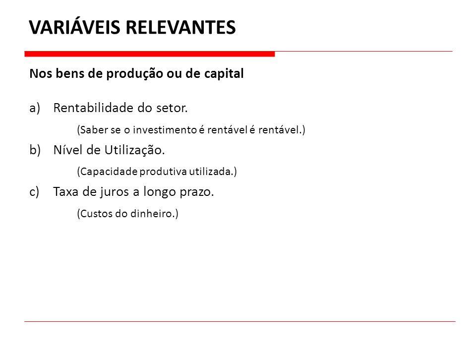 a)Rentabilidade do setor. (Saber se o investimento é rentável é rentável.) b)Nível de Utilização. (Capacidade produtiva utilizada.) c)Taxa de juros a