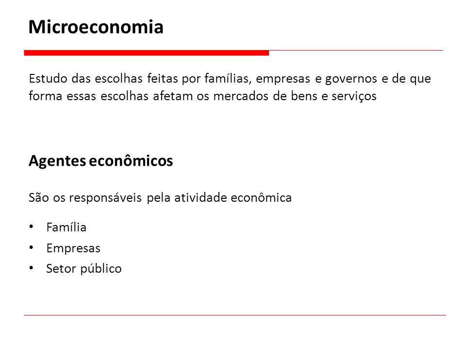 Estudo das escolhas feitas por famílias, empresas e governos e de que forma essas escolhas afetam os mercados de bens e serviços Microeconomia Agentes