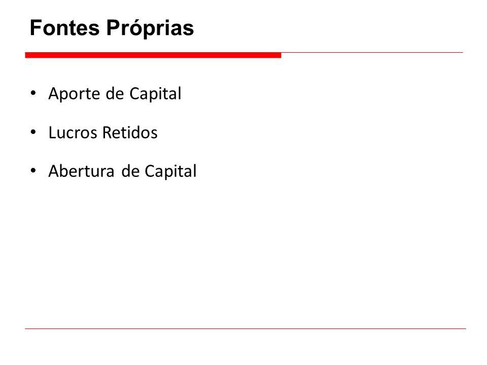 Fontes Próprias • Aporte de Capital • Lucros Retidos • Abertura de Capital
