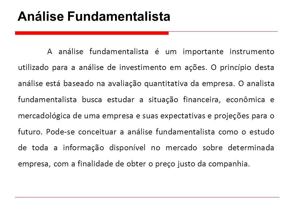Análise Fundamentalista A análise fundamentalista é um importante instrumento utilizado para a análise de investimento em ações. O princípio desta aná