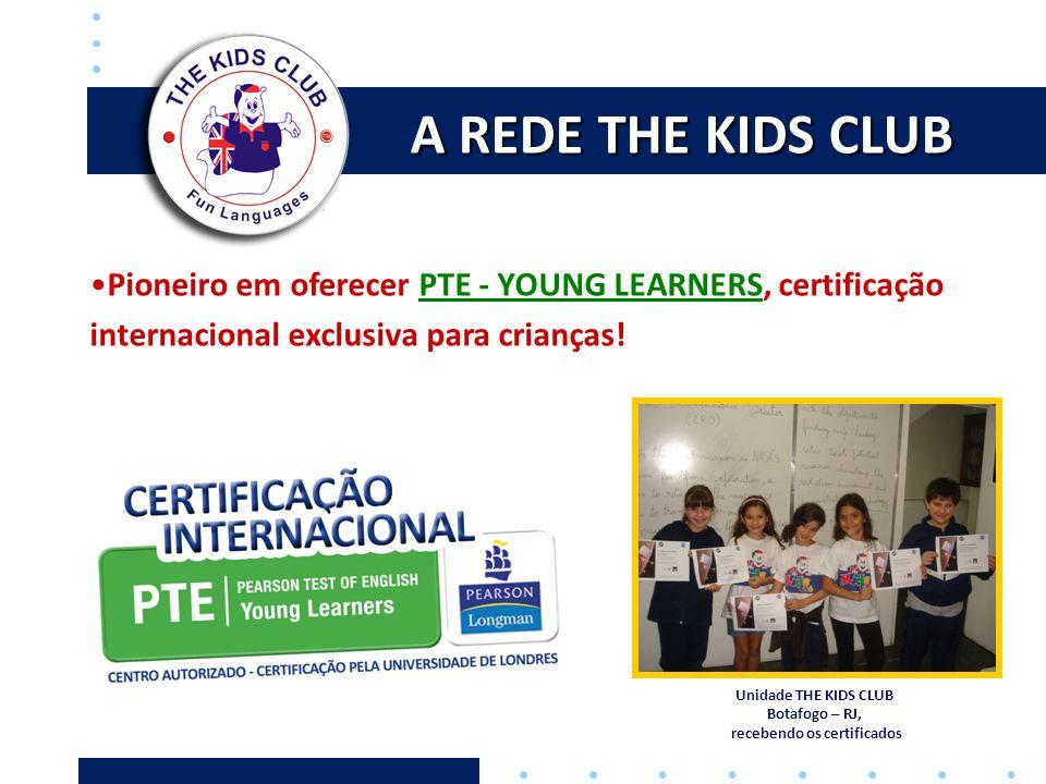 A REDE THE KIDS CLUB •Pioneiro em oferecer PTE - YOUNG LEARNERS, certificação internacional exclusiva para crianças! Unidade THE KIDS CLUB Botafogo –