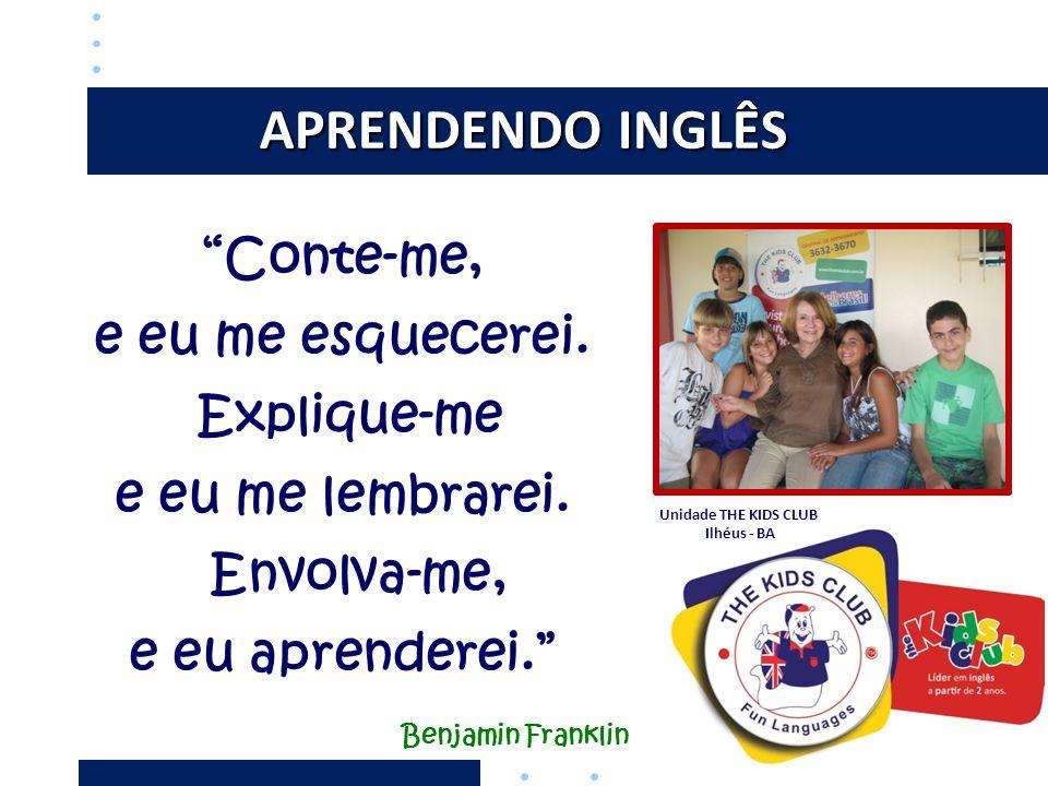 """APRENDENDO INGLÊS """"Conte-me, e eu me esquecerei. Explique-me e eu me lembrarei. Envolva-me, e eu aprenderei."""" Benjamin Franklin Unidade THE KIDS CLUB"""