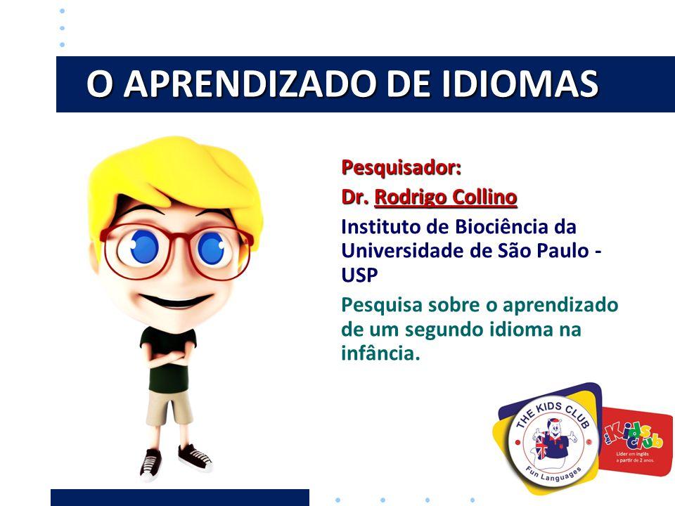 O APRENDIZADO DE IDIOMAS Pesquisador: Dr. Rodrigo Collino Instituto de Biociência da Universidade de São Paulo - USP Pesquisa sobre o aprendizado de u