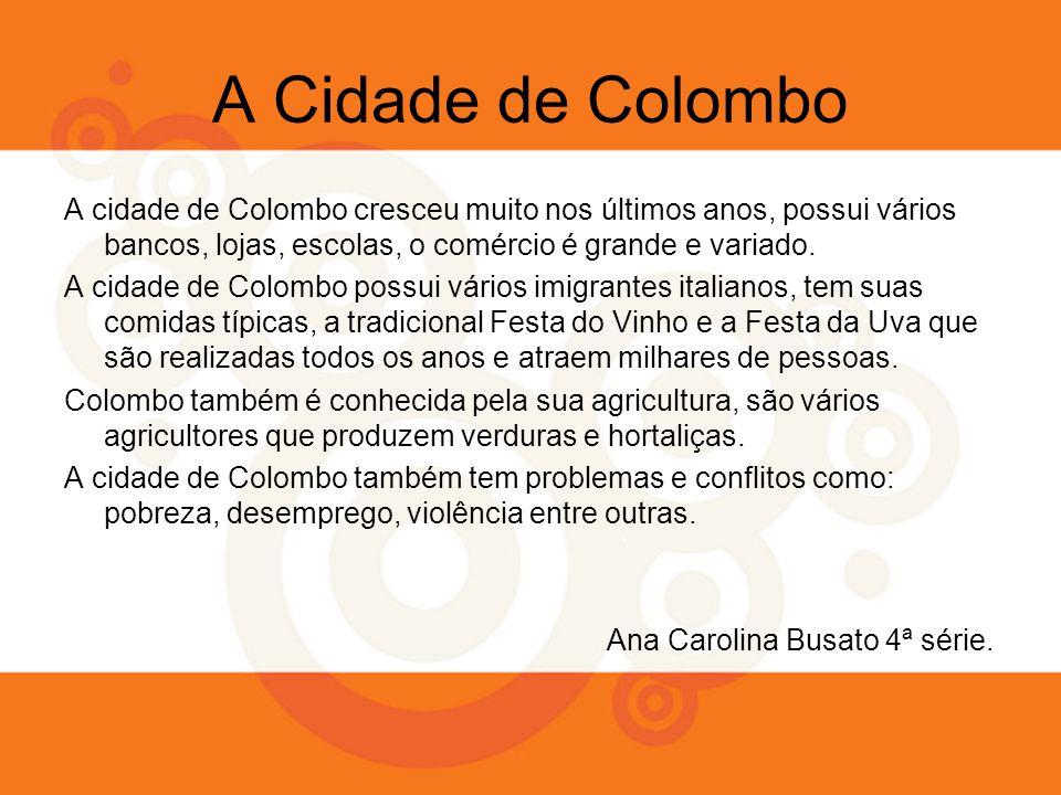 A Cidade de Colombo A cidade de Colombo cresceu muito nos últimos anos, possui vários bancos, lojas, escolas, o comércio é grande e variado. A cidade